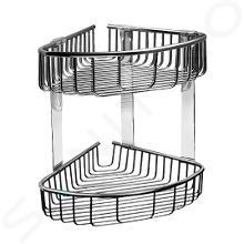 Sanela Doplnky z nehrdzavejúcej ocele - Nerezová dvojitá rohová polička, lesklá nerezová SLZD 28