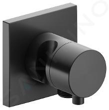 Keuco IXMO - Robinet d'arrêt et inverseur encastré, à 2 voies, avec raccord de tuyau et support de douche, chrome noir 59557131202