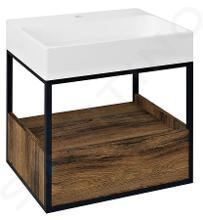 Sapho Skara - Umyvadlová skříňka 590x495x465 mm, 1 zásuvka, dub Collingwood/černá mat CG002-1919
