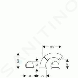 Hansgrohe Okrajové systémy - Vanová baterie tříotvorová, chrom 15633000