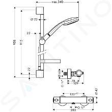 Hansgrohe Croma 100 - Set de douche avec thermostat, douchette Croma 100 Multi 3 jets, chrome 27085000
