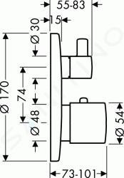 Hansgrohe Ecostat S - Termostat s podomítkovou instalací s uzavíracím ventilem, chrom 15701000