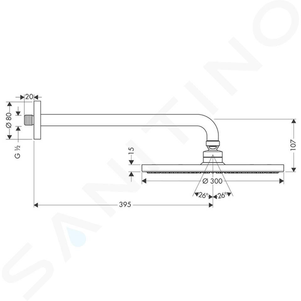 Hansgrohe Raindance - Kopfbrause S 300 Air 1jet, Ausladung 390 mm, verchromt 27493000