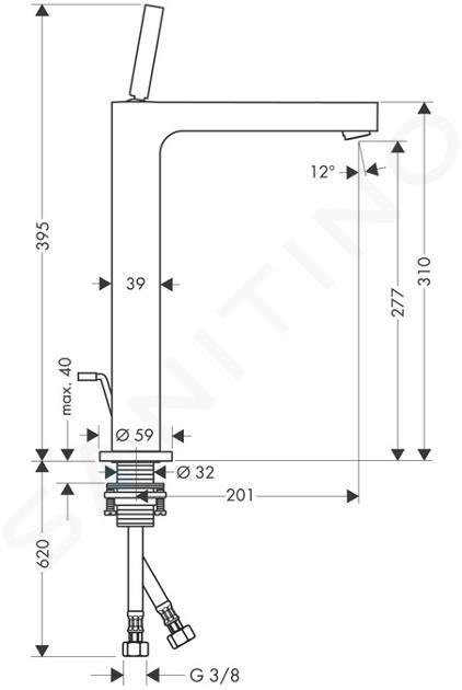 Axor Citterio - Páková umyvadlová baterie s výpustí, chrom 39020000
