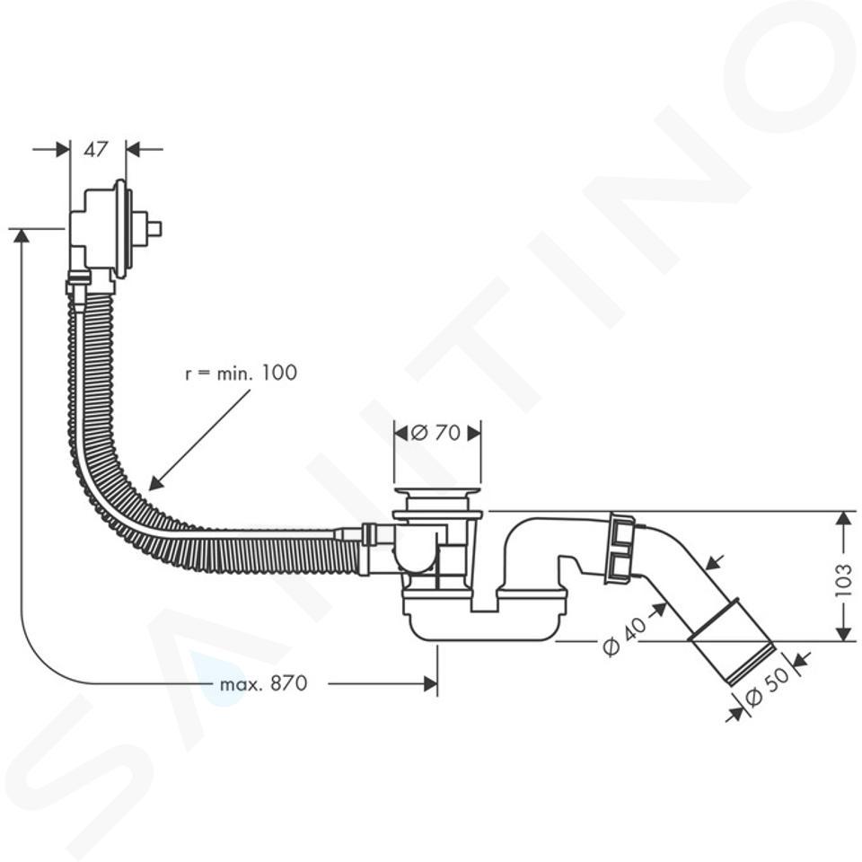 Hansgrohe Flexaplus - Základní těleso pro vrchní sadu s odtokovou a přepadovou soupravou pro speciální vany 58141180