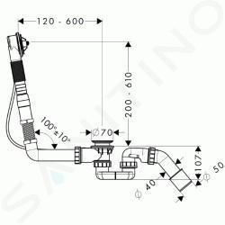 Hansgrohe Flexaplus - Vanová odtoková a přepadová souprava 58146180