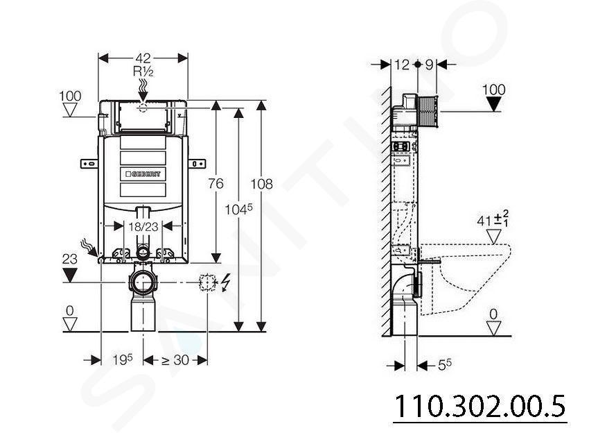Geberit Kombifix - Bâti-support pour WC suspendu, 108 cm, réservoir encastré Sigma 12 cm 110.302.00.5
