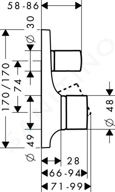 Axor Massaud - Vanová baterie pod omítku, chrom 18455000