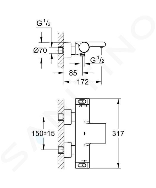 Grohe Grohtherm 2000 - Thermostatische opbouw badmengkraan, chroom 34174001