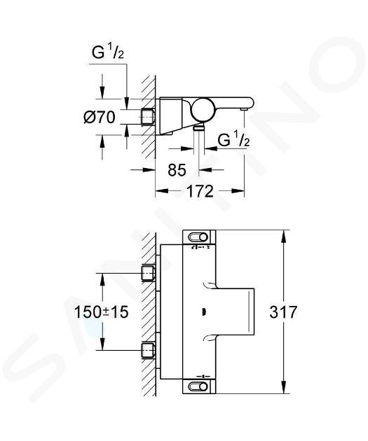 Grohe Grohtherm 2000 - Termostatická vanová baterie, chrom 34464001