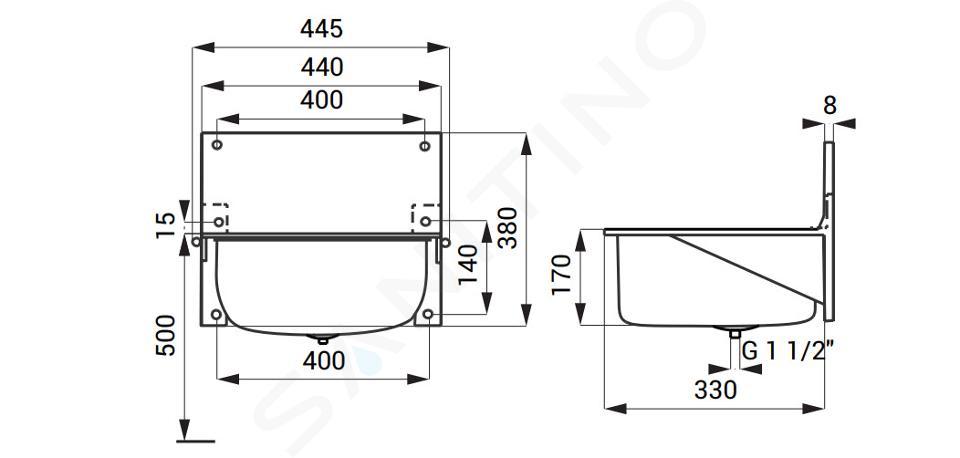 Sanela RVS uitstortgootstenen - Uitstortgootsteen, hangend model 430x330 mm, roestvrij staal SLVN 01