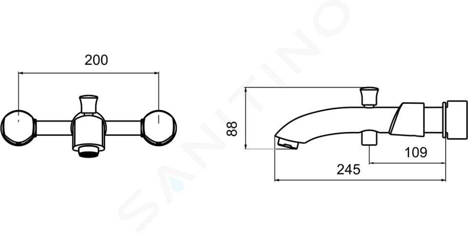 Novaservis Metalia 57 - Robinetterie de baignoire à 3 trous, murale, chrome 57221,0