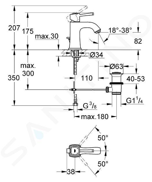 Grohe Grandera - Páková umyvadlová baterie, chrom/zlatá 23303IG0