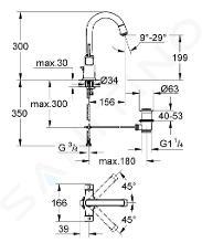 Grohe Grandera - Umyvadlová 1-otvorová baterie, chrom 21107000