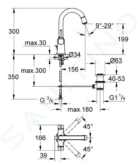 Grohe Grandera - Mitigeur thermostatique 1 trous, chrome 21107000