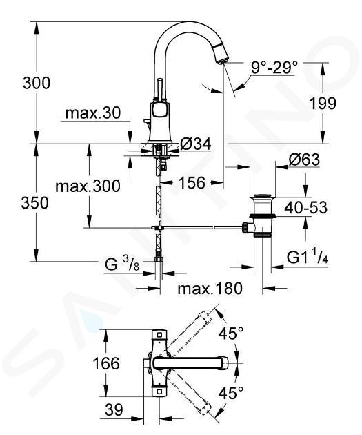 Grohe Grandera - Umyvadlová 1-otvorová baterie, chrom/zlatá 21107IG0