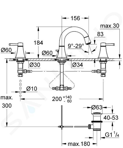 Grohe Grandera - Tříotvorová umyvadlová baterie, chrom/zlatá 20417IG0