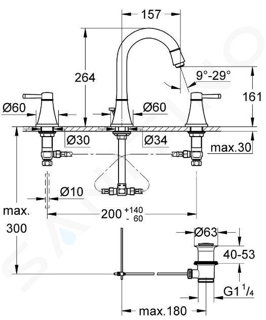 Grohe Grandera - Umyvadlová baterie, 3-otvorová instalace, chrom 20389000