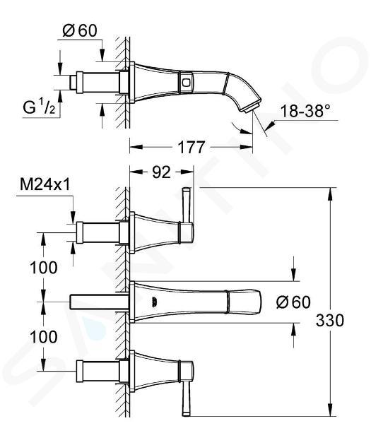 Grohe Grandera - Tříotvorová umyvadlová baterie, chrom/zlato 20414IG0