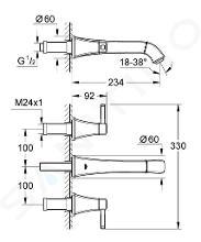 Grohe Grandera - Tříotvorová umyvadlová baterie, chrom 20415000