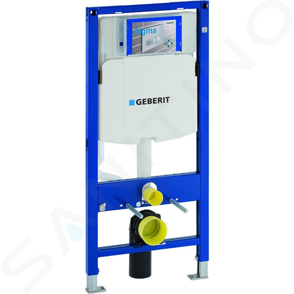 Geberit Duofix - Inbouwreservoir voor hangend toilet met SIGMA01 bedieningsknop, alpine wit + Ideal Standard Quarzo - hangend toilet en wc-bril 111.300.00.5 ND1