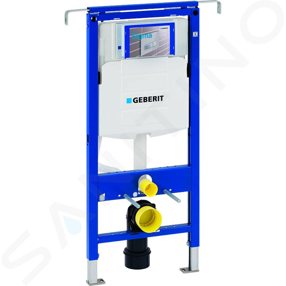 Geberit Duofix - Inbouwreservoir voor hangend toilet met SIGMA01 bedieningsknop, alpine wit + Ideal Standard Quarzo - hangend toilet en wc-bril 111.355.00.5 ND1