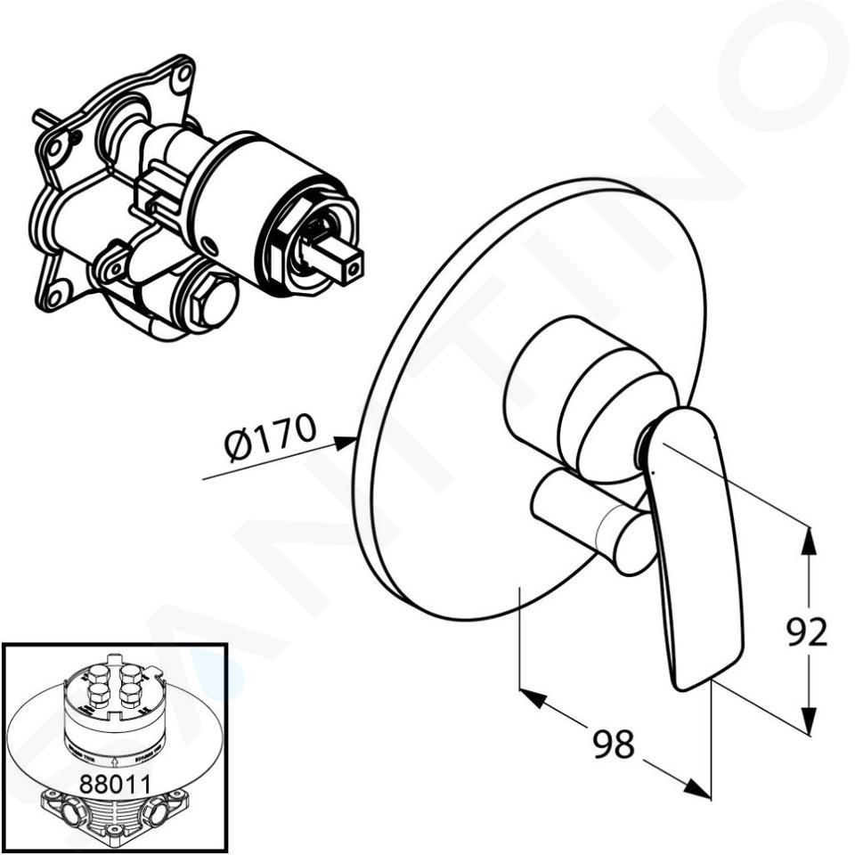 Kludi Balance - Miscelatore ad incasso per due utenze, bianco/cromato 526509175