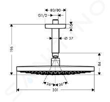 Hansgrohe Raindance Select S - Soffione doccia 300, 2 getti, braccio doccia 100 mm, cromato 27337000