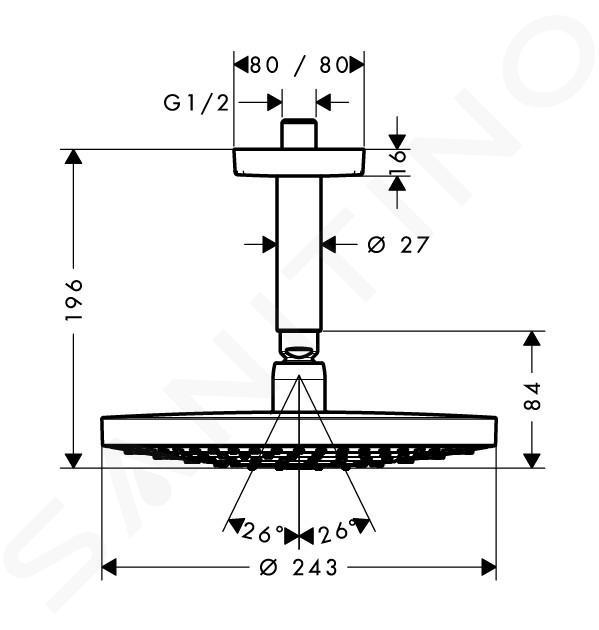 Hansgrohe Raindance Select S - Soffione doccia 240, 2 getti, EcoSmart 9 l/min, braccio doccia 100 mm, cromato 26469000