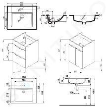 Jika Cube - Skříňka včetně umyvadla, 440x422x607 mm, bílá H4536211763001