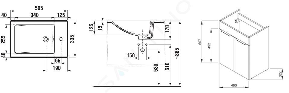 Jika Cube - Skříňka včetně umyvadla, 490x327x607 mm, tmavý dub H4536411763021