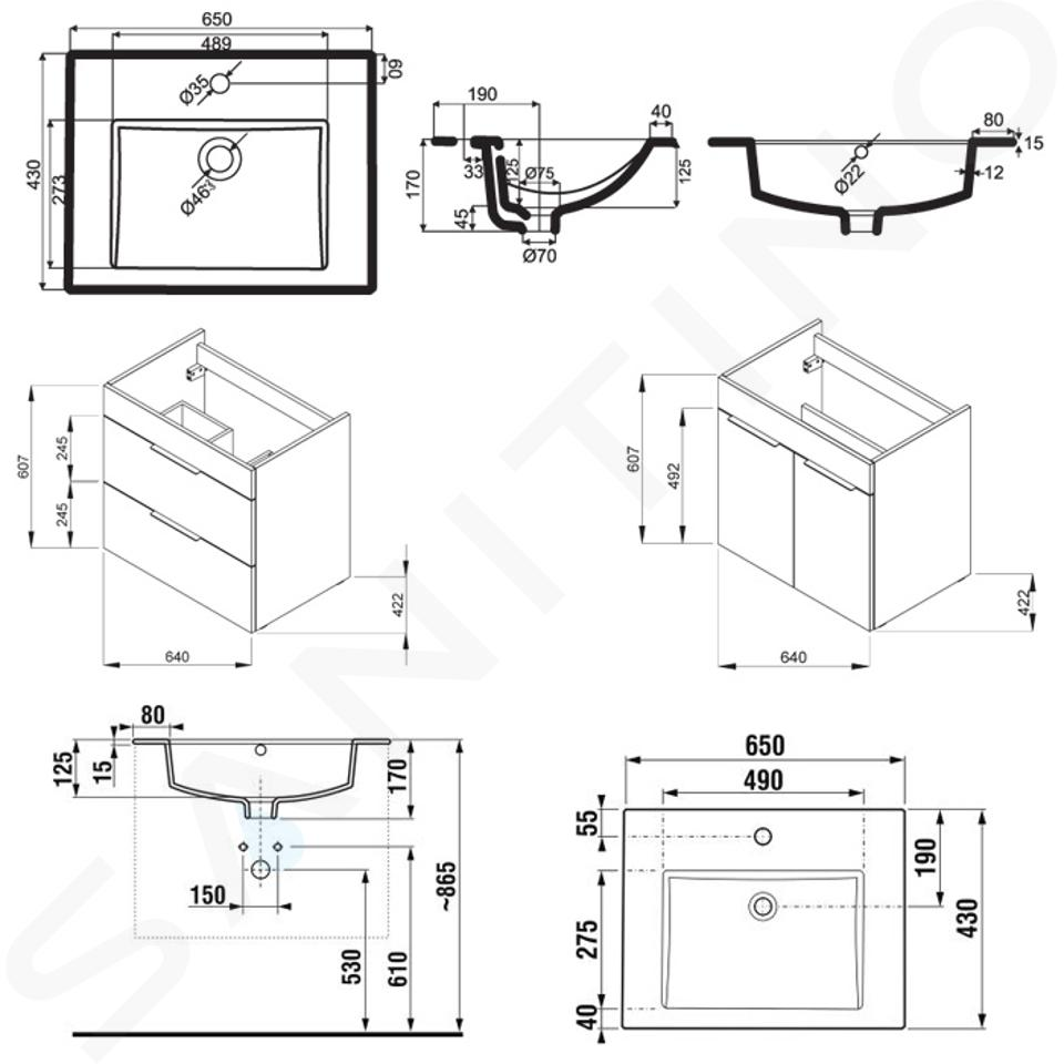 Jika Cube - Skříňka včetně umyvadla, 640x422x622 mm, tmavý dub H4536021763021