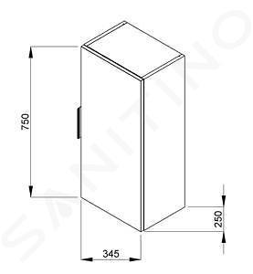Jika Cube - Závěsná skříňka 345x250x750 mm, tmavý dub H4537111763021