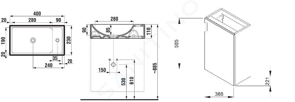 Jika Petit - Skříňka s umývátkem, 386x221x585 mm, třešeň H4535111753081