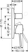 Axor Uno - Vanová baterie pod omítku, chrom 38415000