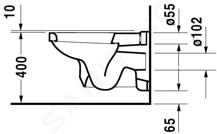 Duravit 1930 - WC suspendu, 355 mm x 580 mm, blanc - toilettte, avec WonderGliss 01820900001