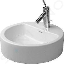 Duravit Starck 1 - Jednootvorová umývadlová misa s prepadom, brúsená, priemer 480 mm, biela – umývadlová misa, s WonderGliss 04464800001