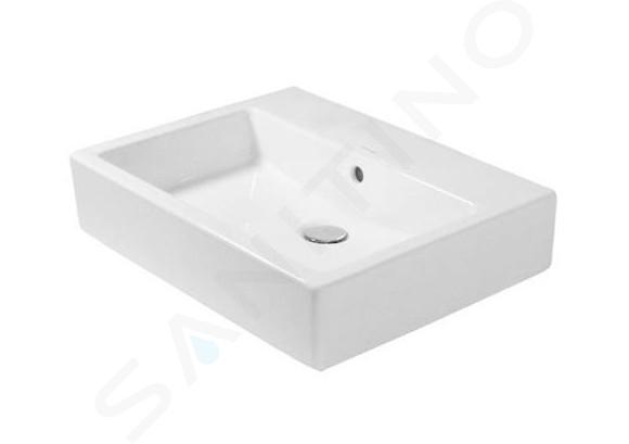 Duravit Vero - Waschbecken Med, 600x470x165 mm, ohne Überlauf, Alpinweiß, mit WonderGliss 04546000701