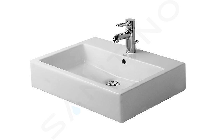 Duravit Vero - Lavabo Med, 600x470x165 mm, avec un trou pour robinetterie, sans trop-plein, avec WonderGliss, blanc alpin 04546000411