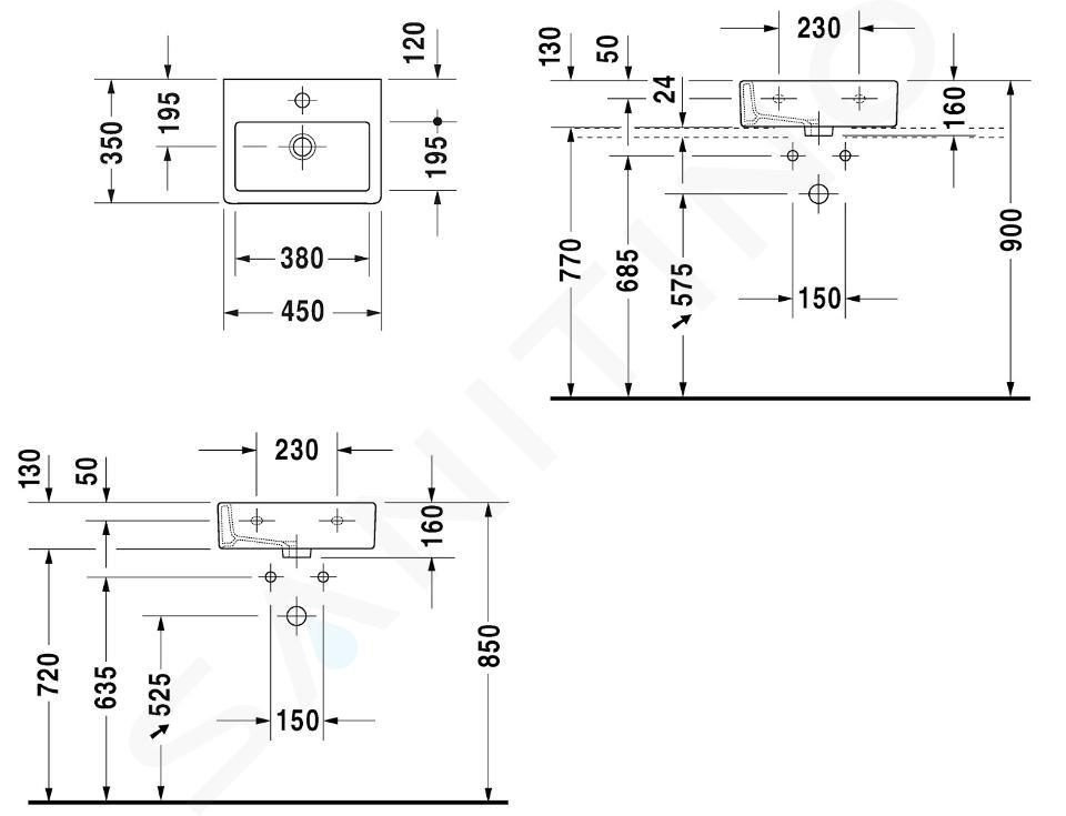 Duravit Vero - Einbauhandwaschbecken 450x350 mm, 1 Hahnloch, mit WonderGliss, Alpinweiß 07044500271
