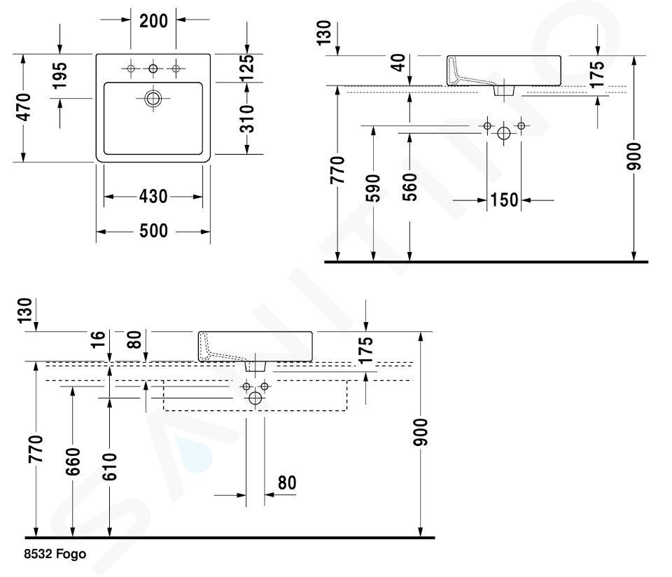 Duravit Vero - Aufsatzwaschbecken, 500x470 mm, ohne Überlauf mit WonderGliss, Alpinweiß 0452500060