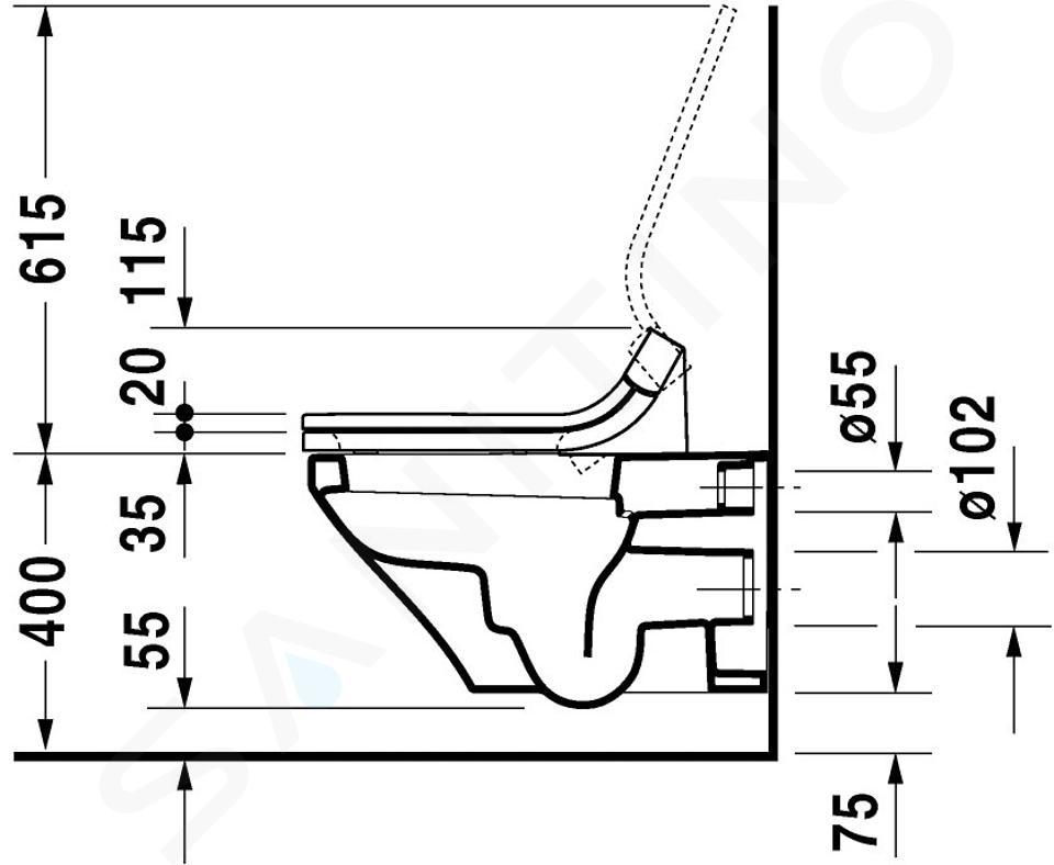 Duravit DuraStyle - Závěsné WC pro SensoWash, s WonderGliss, bílá 25375900001
