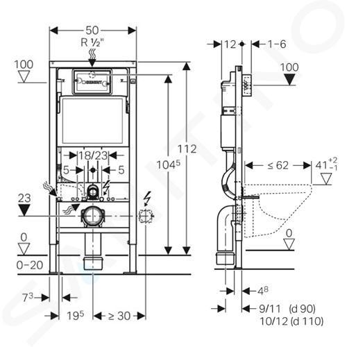 Geberit Duofix - Modulo di installazione per WC sospesi, 112 cm, cassetta di risciacquo ad incasso Delta 12 cm 458.103.00.1