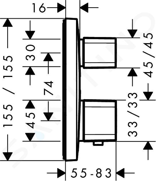 Hansgrohe Ecostat E - Thermostatarmatur - Unterputz mit Ab- und Umstellventil, verchromt 15708000