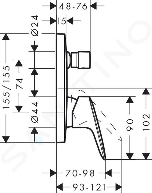 Hansgrohe Logis - Vaňová batéria pod omietku, chróm 71405000