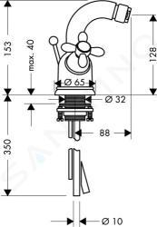 Axor Carlton - Bidetová baterie se dvěma kohouty, chrom 17230000