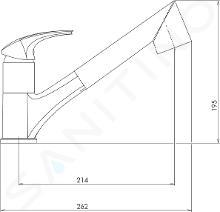 Novaservis Metalia 57 - Keukenkraan met uittrekbare handdouche met omstelkraan, chroom 57081,0