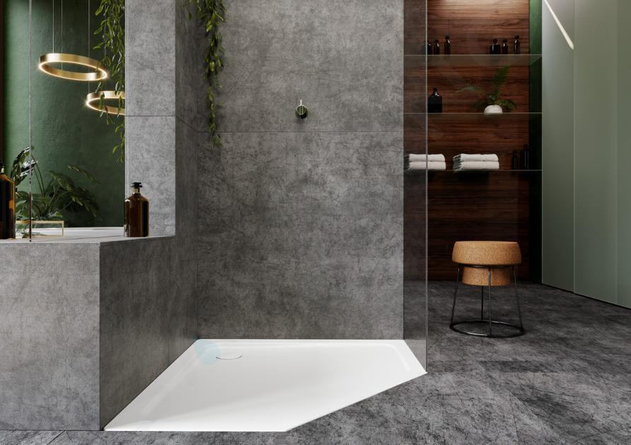 Kaldewei Avantgarde - Pětiúhelníková sprchová vanička Cornezza 670-2, 900x900 mm, Perl-Effekt, s polystyrénovým nosičem, bílá 459048043001