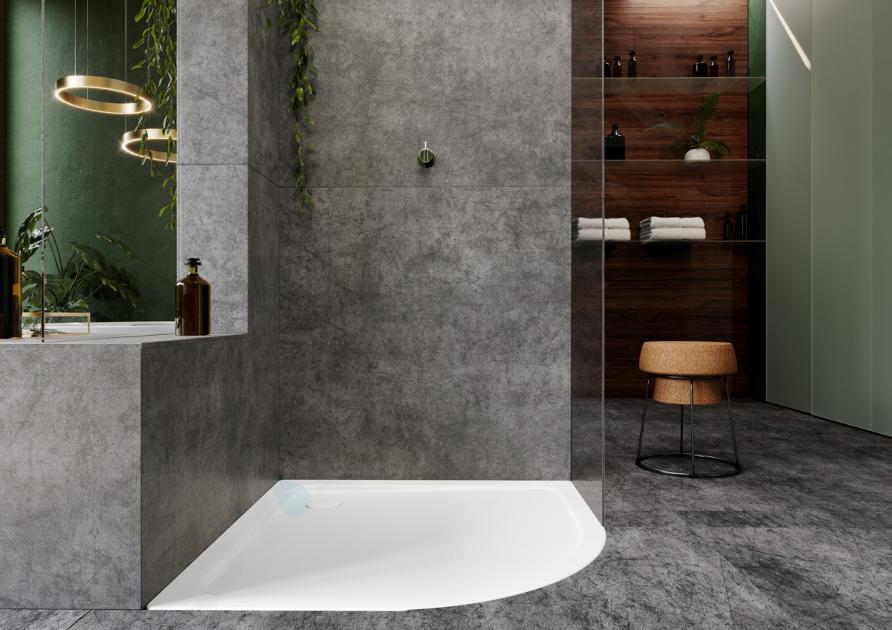 Kaldewei Ambiente - Čtvrtkruhová sprchová vanička Arrondo 880-1, 900x900 mm, antislip, Perl-Effekt, bez polystyrénového nosiče, bílá 460430003001