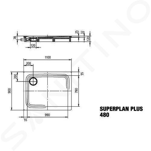 Kaldewei Avantgarde - Sprchová vanička Superplan Plus 480-1, 900x1100 mm, Perl-Effekt, bílá 470500013001